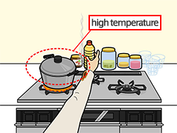 When a pot is heating on the stove, the peripheral area is dangerous due to its high temperature. If you need to reach for the back of the stove, be careful not to burn yourself. Also keep in mind that contact with shirt sleeves and the like could cause the flame to spread.